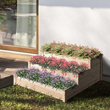 Outsunny Wooden Raised Garden Bed 3-Tier Planter Kit Elevated Planter Box Stand for Yard & Patio 124 x 124 x 56 cm