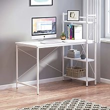Outwin Computer Desk with 4 Tier Shelves, Steel