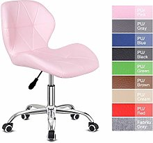 Outwin Office Swivel Desk Chair Pink PU Leather