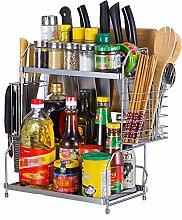 OUY Spice Rack Stainless Steel 2 Tier Spice Rack