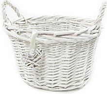 Oval Deep White French Shabby Chic Wicker Kids