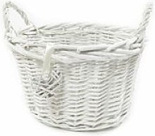 OVAL DEEP White Shabby Chic Wicker Kitchen Fruit