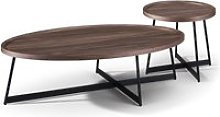 Oval Faux Walnut and Black Metal Nesting Tables