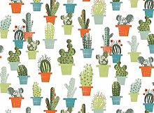 OVAL PVC/VINYL GARDEN TABLECLOTH - GREEN CACTUS