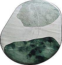 Oval Rug,Minimalist Abstract Lotus Leaves Print