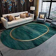 Oval Rug,Minimalist Circle Print Green Oval Bath