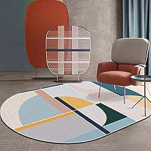 Oval Rug,Minimalist Colorful Geometry Pattern Oval