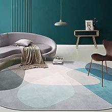 Oval Rug,Minimalist Geometry Print Oval Bath Mat