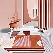 Oval Rug,Minimalist Geometry Stripe Pattern Oval
