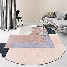 Oval Rug,Minimalist Geometry Stripe Print Oval
