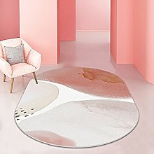 Oval Rug,Minimalist Marbling Pattern Oval Bath Mat