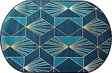 Oval Rug,Minimalist Rhombus Geometry Print Blue