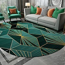Oval Rug,Minimalist Rhombus Geometry Print Green