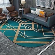 Oval Rug,Minimalist Rhombus Stripe Print Green