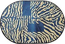 Oval Rug,Minimalist Stripe Print Blue Oval Bath