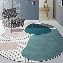 Oval Rug,Moroccan Geometry Pattern Oval Bath Mat