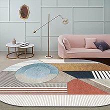 Oval Rug,Moroccan Geometry Stripe Pattern Oval