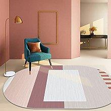 Oval Rug,Nordic Minimalism Colored Geometry