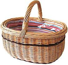 Oval Shopping Basket Wicker–Brown, 37x