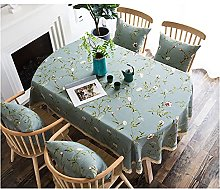 Oval Tablecloth, Simple Style 50% Linen Fabric