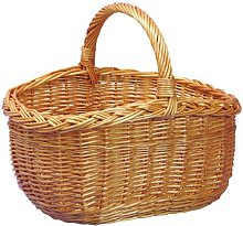 Oval Wicker Shopping Basket - plaited rim
