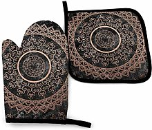 Oven Gloves and Cotton Pot Holders Mandala Rose