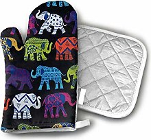 Oven Gloves and Pot Holders,Black Elephants Oven