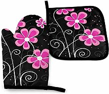 Oven Gloves and Pot Holders,Greeting Pink Flowers