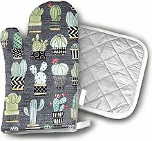 Oven Gloves and Pot Holders,Lovely Llamas Cactus