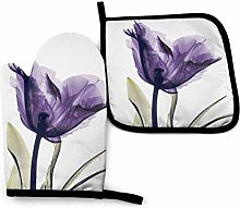Oven Gloves and Pot Holders,Purple Flower Oven