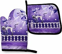 Oven Gloves and Pot Holders,Purple Moon Cat Oven