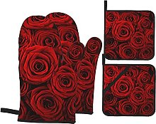Oven Gloves and Pot Holders,Red Rose Oven Mitts