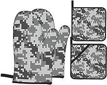 Oven Gloves And Pot Holders Set Camo Digital Pixel