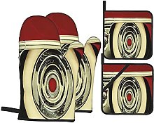 Oven Gloves And Pot Holders Set Car Retro Style