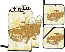 Oven Gloves And Pot Holders Set Cars Decor
