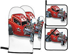 Oven Gloves And Pot Holders Set Cartoon Race Car