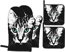 Oven Gloves And Pot Holders Set Cat Digital Murky