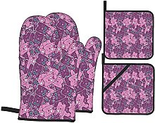 Oven Gloves And Pot Holders Set Cat Mixed Kitten