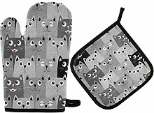 Oven Gloves and Pot Holders Set Cat Oven Mitt Heat