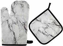 Oven Gloves and Pot Holders Set Gray Marble Oven