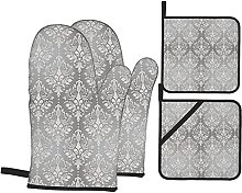 Oven Gloves And Pot Holders Set Grey Decor