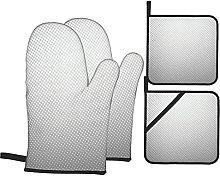 Oven Gloves And Pot Holders Set Grey Decor Digital