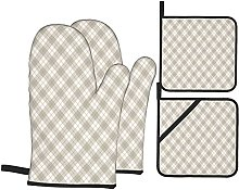 Oven Gloves And Pot Holders Set Grey Diagonal