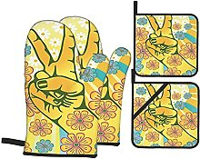 Oven Gloves And Pot Holders Set Groovy Decorations