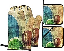 Oven Gloves And Pot Holders Set Grunge Colorful