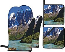 Oven Gloves And Pot Holders Set Lake House Decor