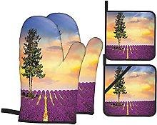 Oven Gloves And Pot Holders Set Lavender