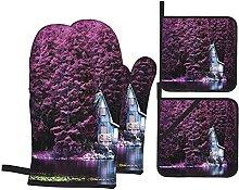 Oven Gloves And Pot Holders Set Lavender Purple
