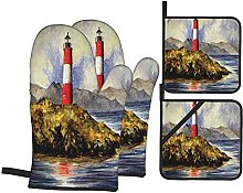 Oven Gloves And Pot Holders Set Lighthouse Decor