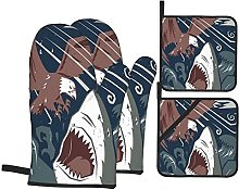 Oven Gloves And Pot Holders Set Sea Animal Decor
